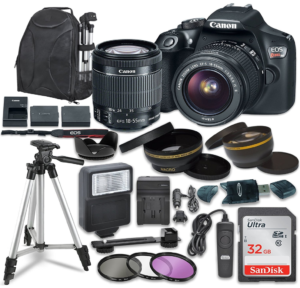 this is an image of a canon camera bundle with accessories