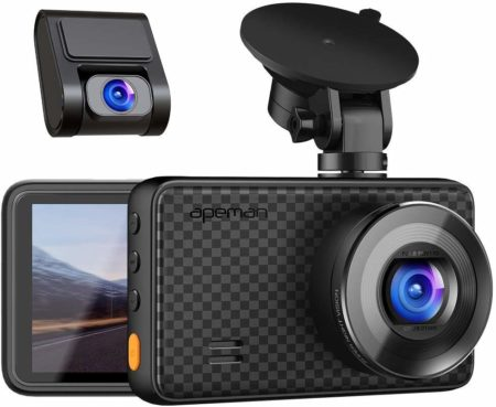 This is an image of Black 14409 1080 front and Rear Dash Camera