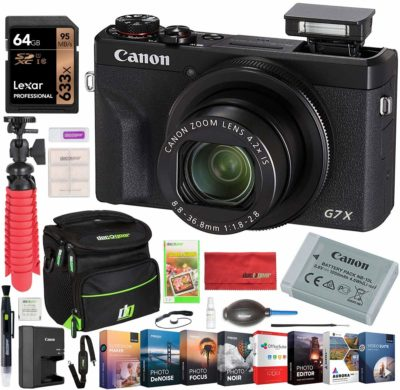 This is an image of a PowerShot G7 X digital camera bundle kit by Canon.