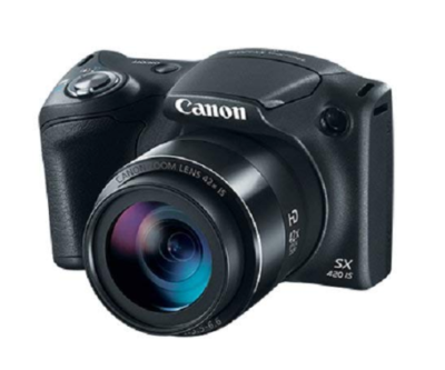 This is an image of a black Powershot SX420 digital camera by Canon.