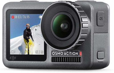 This is an image of a black dual screen OSMO action camera by DJI.