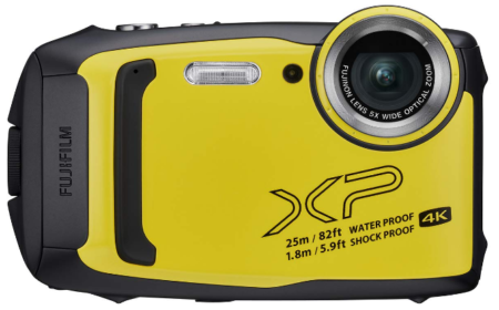 This is an image of fujifilm finepix waterproof, black and yellow colors