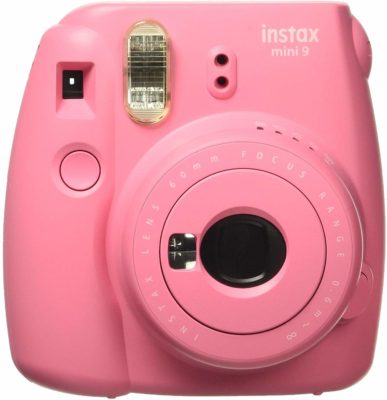 This is an image of a flamingo pink Instax Mini 9 instant camera by Fujifilm for kids.