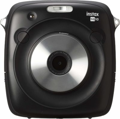 This is an image of a black Instax Square SQ10 instant camera by Fujifilm.