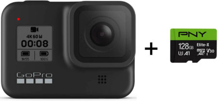 THis is an image of GoPro HERO8 Black + PNY Elite-X 128GB U3 microSDHC Card