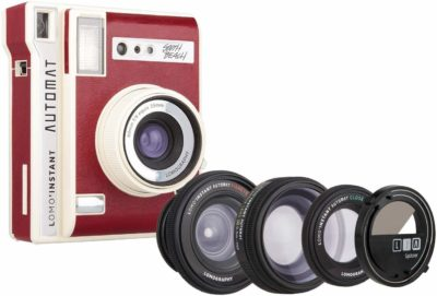 This is an image of a red LOMO automat south beach instant camera with 3 lenses by Lomography.