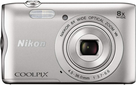 This is an image of Nikon Coolpix A300 20 MP Point & Shoot Digital Camera, Silver