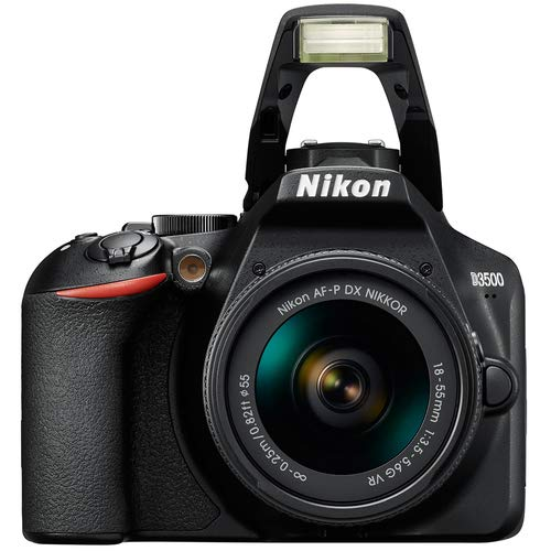 Nikon D3500 black camera with flash and zoom lens