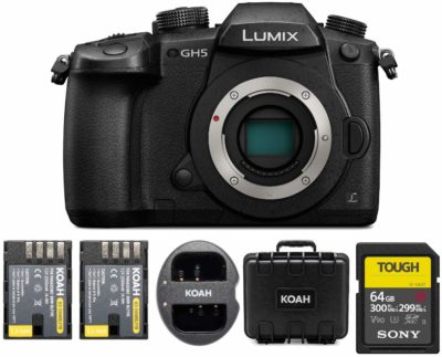 This is an image of a Panasonic LUMIX GH5 body bundle.