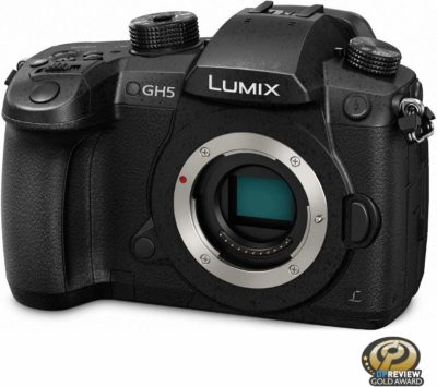 This is an image of a black Lumix GH5 Panasonic digital camera.