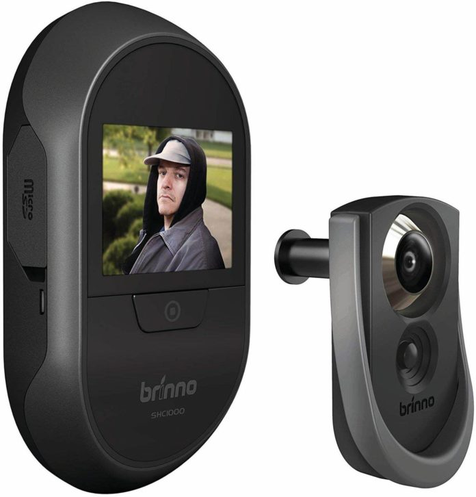 This is an image of Brinno Front Door Peephole Security Camera- Motion Detection - Knocking Sensor