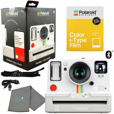 This is an image of a white Polaroid OneStep+ camera bundle kit.