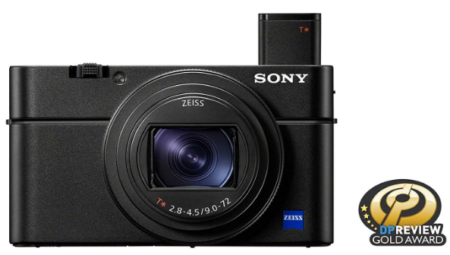 This is an image of sony RX100 digital camera in black color