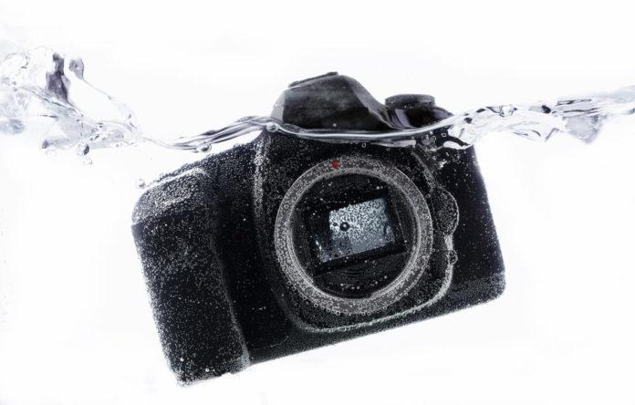 DSLR camera close up under water