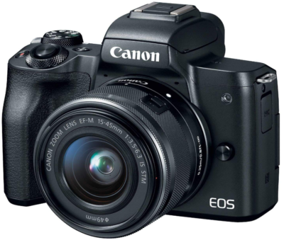This is an image of canon EOS mirrorless camera kit in black color