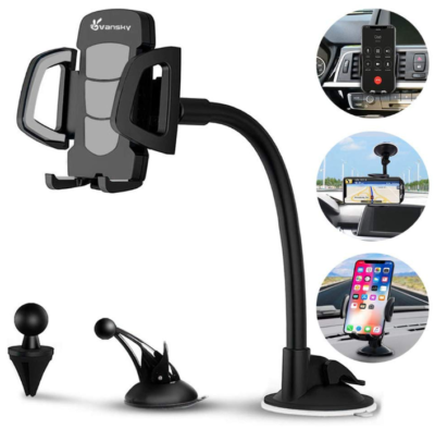 This is an image of Car phone mount In black color