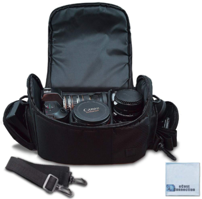 This is an image of Large digital camera video Carrying bag in black color