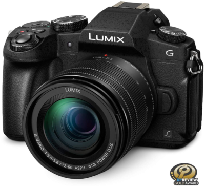 This is an image of PANASONIC lumix 4K mirrorless camera in black color