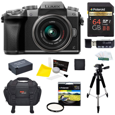 This is an image of panasonic G7JS Mirrorless Camera with 4k, Pack. Black & Grey colors