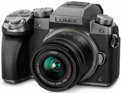 This is an image of panasonic Lumix Mirrorless camera in black and gray colors