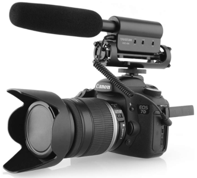 This is an image of microphone for interview and huge cameras by TAKSTAR in black color