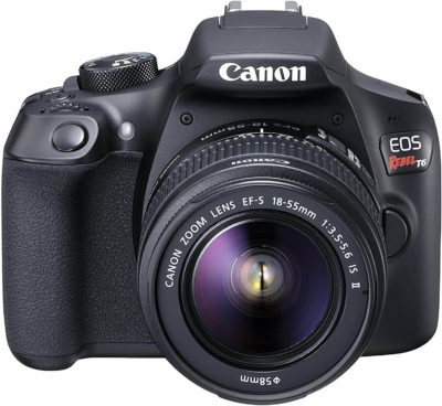 This is an image of Canon EOS Rebel T6 Digital SLR Camera Kit with EF-S 18-55mm f/3.5-5.6 IS II Lens (Black)