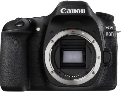 This is an image of Canon Digital SLR Camera Body [EOS 80D] with 24.2 Megapixel (APS-C) CMOS Sensor and Dual Pixel CMOS AF - Black