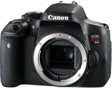 This is an image of Canon EOS Rebel T6i Digital SLR (Body Only) - Wi-Fi Enabled International Version