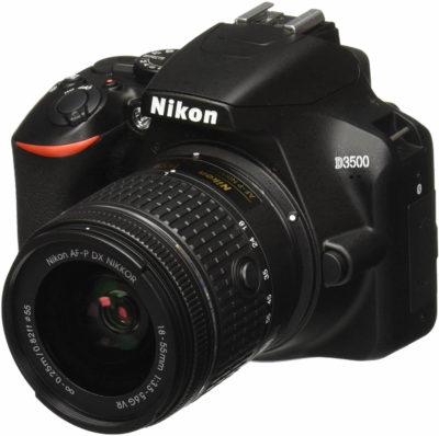 This is an image of Nikon D3500 W/ AF-P DX NIKKOR 18-55mm f/3.5-5.6G VR Black