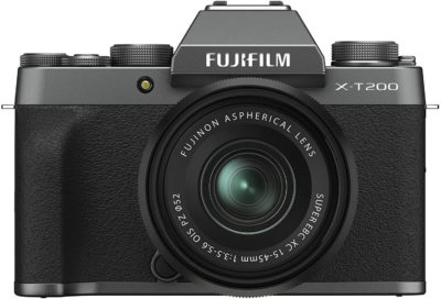 This is an image of Fujifilm X-T200 Mirrorless Digital Camera w/XC15-45mm Kit - Dark Silver