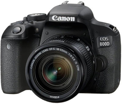 This is an image of Canon EOS 800D Digital SLR with 18-55 is STM Lens Black (International Model No Warranty)