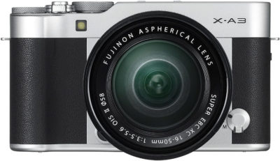 This is an image of Fujifilm X-A3 Mirrorless Camera XC16-50mm F3.5-5.6 II Lens Kit - Silver