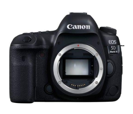 This is an image of a black Canon 5D Mark IV with 30.4 megapixels full-frame CMOS sensor