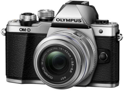 This is an image of a silver Olympus OM-D E-M10 Mark II camera with 14-42 mm EZ Zoom Lens and 16 MP sensor