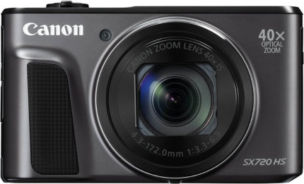 This is an image of a black Canon Powershot SX 720 with 20.3 Megapixel sensor, 40x zoom, wide-angle 3.0 inch LCD and 43-172mm lens