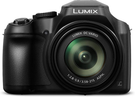 This is an image of a black Panasonic Lumix FZ80 4K Digital Camera with 18.1 Megapixel sensor, 60X Zoom, 20-1200mm Lens and touch Enabled 3-Inch LCD