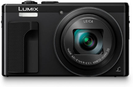 This is an image of a black Panasonic Lumix ZS60 camera with 18 MP sensor and 30x LEICA DC Lens for optical zoom