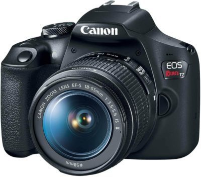 This is an image of a black Canon EOS Rebel T7 DSLR digital camera with 18-55mm lens, 24.1 MP sensor and a 3-inch LCD screen