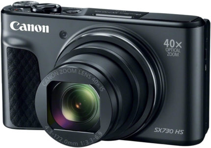 This is an image of a gray Canon PowerShot SX730 camera with 20.3 MP CMOS sensor and 40x optical zoom