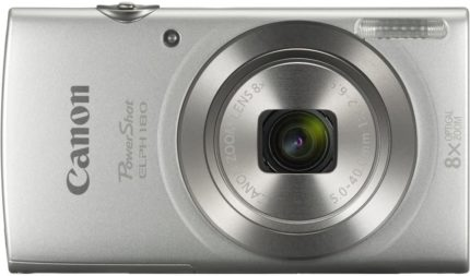 This is an image of a silver Canon PowerShot ELPH camera with 20.2-megapixel high sensitivity CMOS sensor and 12x optical zoom lens