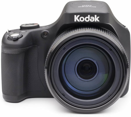 """This is an image of a black Kodak PIXPRO Astro Zoom Digital Camera with 65X Optical Zoom and 3"""" LCD and 20 megapixels sensor"""