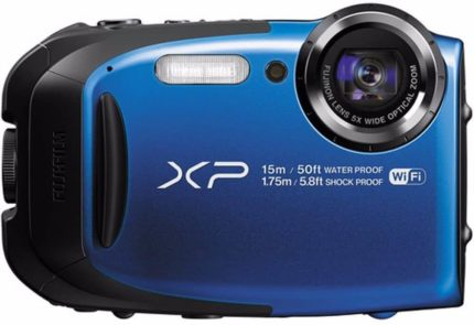 This is an image of a blue waterproof Fujifilm Finepix XP80 digital camera with a high-resolution 16-megapixel BSI-CMOS sensor