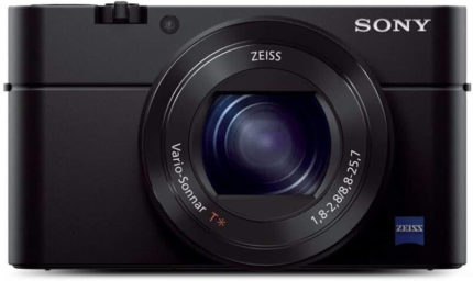 This is an image of a black Sony RX100 III 20.1 MP Premium Compact Digital Camera with 24-70mm ZEISS Zoom Lens and 3-inch TFT LCD screen