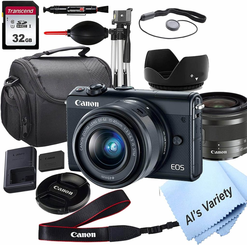 Canon EOS M100 camera with accessories