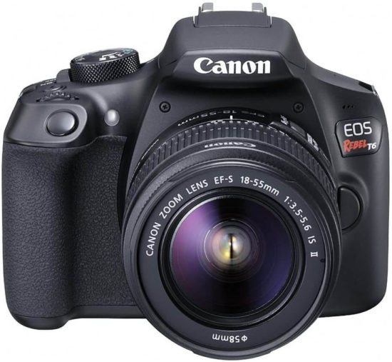 This is an image of a black Canon EOS Rebel T6 DSLR digital camera with 18 megapixel cmos image sensor, 3 inch lcd and 18-55mm zoom lens