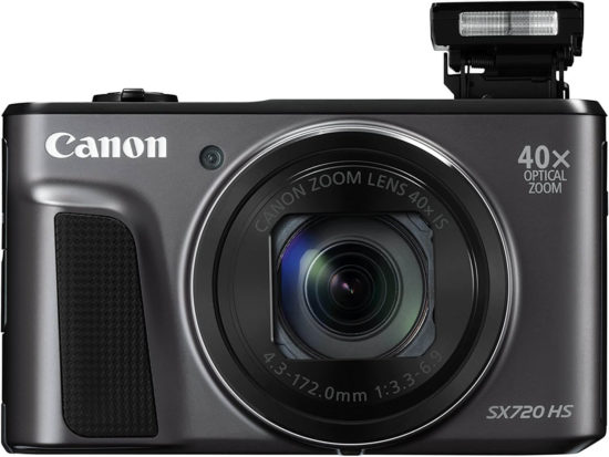 This is an image of a black Canon PowerShot SX720 HS digital camera with 40x Optical Zoom and 20.3 Megapixel CMOS sensor