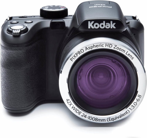 """This is an image of a black Kodak Pixpro Astro Zoom az421 digital camera with 16 megapixels seosor, 3"""" LCD screen and 42x zoom"""