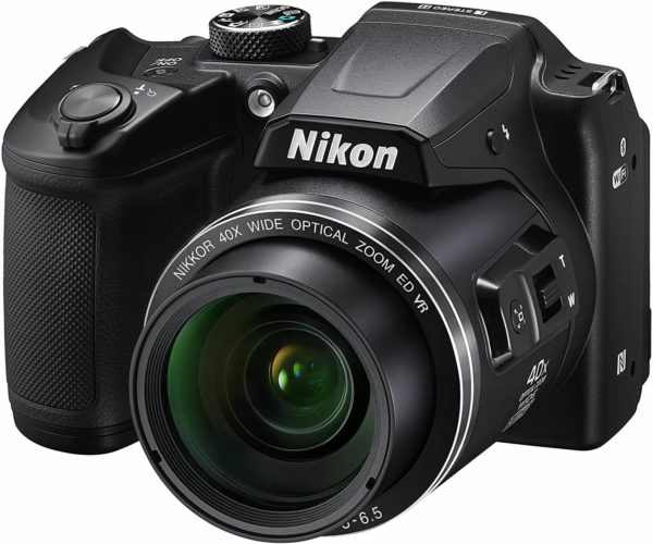 This is an image of a black Nikon COOLPIX digital camera B500 with 40x optical zoom lens, 80x dynamic zoom and 16 megapixel CMOS sensor