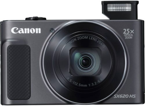 This is an image of a black Canon PowerShot SX620 digital camera with 20.2 megapixels seosor and 25x intelligent optical zoom