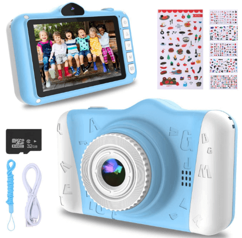 This is an image of a blue and white WOWGO Kids Digital Camera with 12 megapixel, bundle and steakers